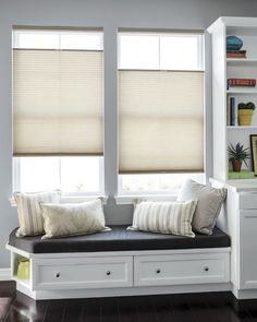 Luxe Linen Petite Cell Semi-sheer Honeycomb Shades - Tailored Square Pillow - X Lumbar Pillow - 16408 Sunroom Windows, Farmhouse Windows, Blinds For Windows, Sunroom Blinds, Bay Window Blinds, Big Windows, Honeycomb Blinds, Honeycomb Shades, Cellular Blinds