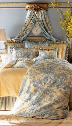 Toile is a great fabric for a french country bedroom - Shelterness ( Notice the stripe and checked fabric too.)