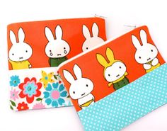 Handmade Miffy Fabric Purse by Jane Foster  - Dick Bruna retro vintage pouch