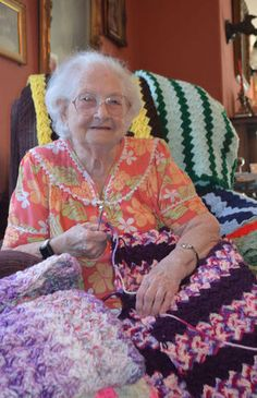 """""""Antoinette DiGiacomo, 96, spends her days making (crochet) blankets for charity at her home in McGee Ranch."""""""