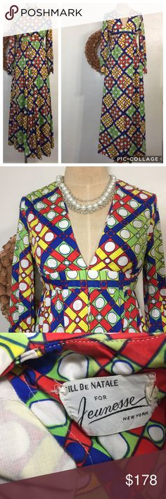"""Jeunesse 1970s 1960s mod disco Palazzo Jumpsuit 19"""" underarm to underarm  15"""" across waist (no stretch) 27.5"""" top of Back to bottom of crotch 31"""" inseam 18.5"""" underarm to bottom of sleeve  Small pull noticed at crotch (shown in closeup but you can repair or no one will see because of the layers of flowy material. No size tag - go by measurements  Thick, flowy poly Lining wearing thin  All items photos taken prior to packing for shipping. Package may not be pretty but it gets to you without…"""