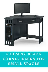 The Leick Corner Computer and Writing Desk easily nestles into the corner of the room. Space saving features include a lower shelf for tower storage and corner design to nestle into tight spaces. Lower shelf for computer tower and printer. Black Corner Computer Desk, Computer Desks For Home, Wood Computer Desk, Pc Desk, Black Desk, Laptop Desk, Home Desk, Home Office Desks, Home Office Furniture