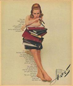 Vintage Hanes advert. Women + books + hose.