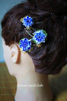 boda azul flor del pelo flor del pelo nupcial algo por GEISHAFLOWER