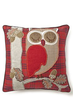 Owl & acorn cushion Pinned by www.myowlbarn.com - Love this cushion