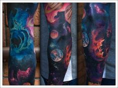 tattoo color tattoo sleeve tattoo astronomy tattoo julian oh Life Tattoos, Body Art Tattoos, New Tattoos, Space Tattoos, Planet Tattoos, Circle Tattoos, Tattoo Ink, Tattoo Drawings, Tatoos