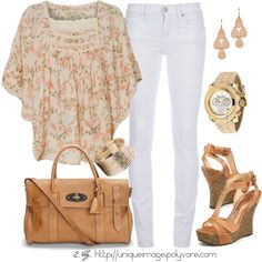 Floral Smock Top, white denim, with gold and tan.
