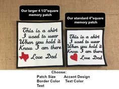 2 Memory Pillow Patches - SEW ON Memory Patch, 2 Sizes, This is a shirt I used to wear, In Memory Of, Shirt Pillow Patch, Memory Patch #memorypatches #memoryshirtpillows #personalizedpatches #keepsakepillows #thisisashirt