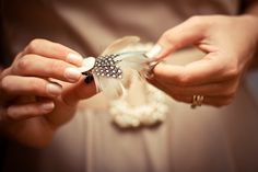 Hand-made hair clips for bridesmaids.