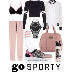 go sporty for pizza by kc-spangler on Polyvore featuring Antipodium, Bonds, Karl Lagerfeld, adidas, Pink, sporty, sportystyle and gosporty
