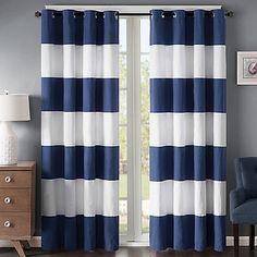 Regency Heights Parker Stripe 95-Inch Grommet Top Window Curtain Panel in Navy/White