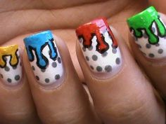 Dripping Paint Nail Art Design Colorful Tutorial Polish Designs Kids Video Pop At