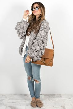 Sweater Weather to Spring Weather - The Darling Detail Chunky Cardigan, Spring Weather, My Darling, T Shirt And Jeans, Sweater Weather, No Frills, Everyday Fashion, Winter Outfits, Tees