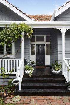 Ideas For Exterior House Colors Weatherboard Front Porches Exterior Paint Schemes, Exterior Paint Colors, Paint Colors For Home, Exterior Design, Paint Colours, Black House Exterior, House Paint Exterior, Exterior Stairs, Grey Exterior