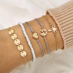 DIEZI Bohemia Beach Map Heart Coconut Tree Charm Bracelet Sets For Women Rope Bracelets Pulseras Mujer Beads Jewelry Gifts Jewelry Party, Cute Jewelry, Jewelry Gifts, Jewelry Accessories, Handmade Jewelry, Simple Jewelry, Jewelry Ideas, Wedding Jewelry, Vintage Jewelry