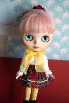 Blythe Vintage Cute Tartan Shirt and Skirt Set by cmondolly on Etsy