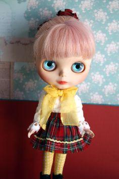 Blythe Vintage Cute Tartan Shirt and Skirt Set by cmondolly on Etsy