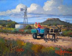 Willie Strydom - Donkeys in the Karoo (350 x 450)