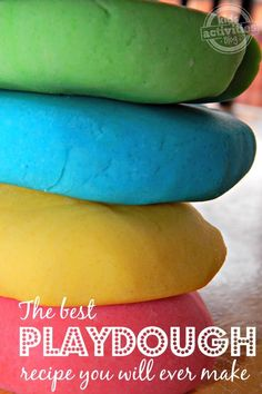 For kids goody bags: When you make your own playdough with the best playdough recipe ever, you get way more dough for your money. Plus, this homemade playdough is so soft. Craft Activities For Kids, Toddler Activities, Projects For Kids, Diy For Kids, Crafts For Kids, Indoor Activities, Sensory Activities, Toddler Learning, Motor Activities