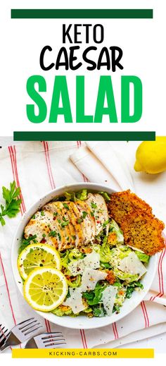 This Low Carb Keto Caesar Salad has all the flavors you love and I promise, you won't miss the carbs. You are going to love the no-sugar dressing recipe. The combination of crisp romaine, Parmesan, and creamy dressing with just the right added crunch is utterly satisfying. Low Carb Taco Salad, Salad Recipes Low Carb, Lunch Recipes, Easy Dinner Recipes, Keto Recipes, Easy Meals, Healthy Dishes, Healthy Eating, Low Carb Summer Recipes