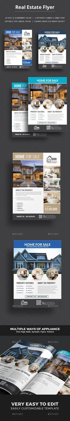 Real Estate Flyer Template - Corporate Flyers Download here: https://graphicriver.net/item/real-estate-flyer-template/18447679?ref=classicdesignp