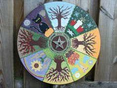 Painted this wheel of the year myself, Charlene Hagenaars. Used a thick piece of round wood and acrylic paint. And a metal pentagram. Looks so colorful above my couch :)