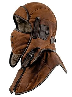 Sterkowski Shearling Leather Men's Aviator Trapper Cap with Mask and Collar US 7 Marzipan