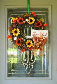 Fall Wreath with Sign, Fall Wreath for Front Door, Wreath with Thankful Sign, Autumn Wreath, Farmhouse Wreath, Fall Foliage Decoration