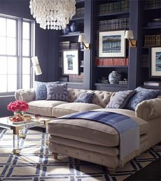 40 Amazing Blue Living Room Design Ideas - Page 33 of 45 My Living Room, Home And Living, Living Room Decor, Living Spaces, Living Area, Cottage Living, Navy Blue Living Room, Simple Living, Decoration Inspiration