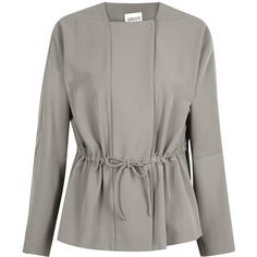 Womens Smart Jackets Armani Collezioni Taupe Drawstring Crepe Jacket ($625) ❤ liked on Polyvore featuring outerwear, jackets, brown jacket, crepe jacket, armani collezioni, double breasted jacket and taupe jacket