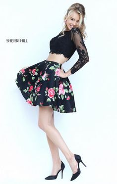 Lace Long Sleeves Boat Neckest Sherri Hill 50464 Black/Red Short Floral Print Dress For Homecoming