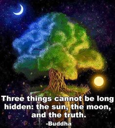 """""""Three things cannot be long hidden"""" Buddha quote"""