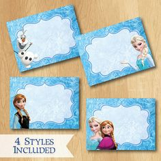 Disney Frozen Food Labels - INSTANT DOWNLOAD Disney Frozen Birthday Printable Party Treat Tent Labels Place Cards