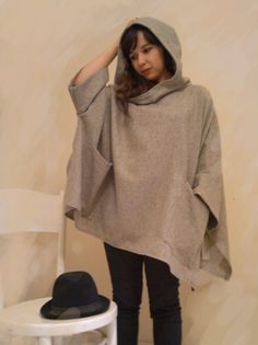 Beige wool knit  poncho / cape with hood by Rewella on Etsy
