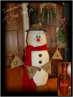 Wow who knew A bamboo vase could make such a wonderful 4 foot snowman?!  by At Home Primitives