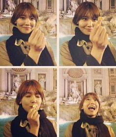 Sooyoung makes a wish at the Trevi Fountain in Rome, Italy