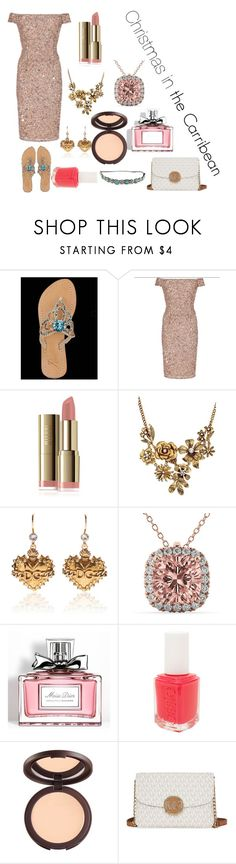 """""""Christmas in the Carribean"""" by katiephan on Polyvore featuring Adrianna Papell, WithChic, Dolce&Gabbana, Allurez, Christian Dior, Essie, tarte, Pink and pashasandels"""