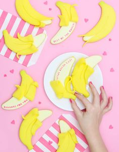 Banana Sugar Cookie Tutorial ~ Make. Bake. Celebrate. Baby Shower Decorations For Boys, Kids Party Themes, Baby Shower Themes, Party Ideas, Valentine Cookies, Valentines Day Party, Cut Out Cookies, Sugar Cookies, Banana Party