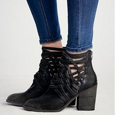 •HP• ✨NWT Free People Carrera Heel Boot in Black✨ NWT Free People Carrera Heel Boot in Black in size 37. Washed leather block heel boots with basket-weave detailing up the ankle. Zip backs for easy on/off. Free People Shoes Ankle Boots & Booties