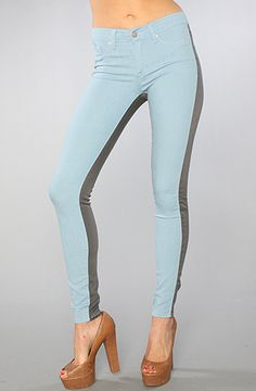 """""""Spring's To-Die-For Denim"""", Two-Tone, Washborn, The Jegging in Sky Blue and Gray, $100"""