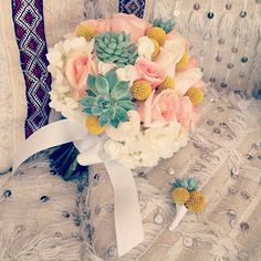 Pink roses, white hydrangea, craspedia, and succulent ////{Photo source: Bob Gail Special Events} #weddings #bouquets