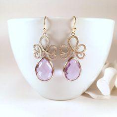 Silver Filigree Lavender Glass Drop Dangle Earrings by BlingNiks