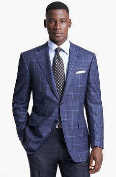 $1,295, Blue Plaid Blazer: Canali Classic Fit Plaid Sportcoat. Sold by Nordstrom. Click for more info: https://lookastic.com/men/shop_items/3606/redirect