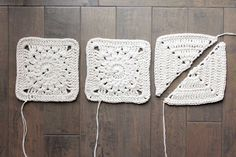 The pieces of the Urban Gypsy boho bag free crochet pattern before being sewn together. Made with Lion Brand Kitchen Cotton.