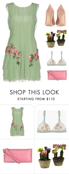 """Floral Accent"" by starit ❤ liked on Polyvore featuring Alberta Ferretti, La Perla, Valentino, Nearly Natural, Gianvito Rossi, napa, winerywedding, bestdressedguest and vineyardwedding"