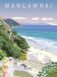 Mangawhai Heads looking North by Contour Creative Studio for Sale - New Zealand Art Prints