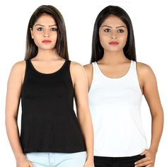 Letizia Women's Cotton A-line Tank Top Pack of 2 (White & Black): Amazon.in: Clothing & Accessories Tops Online, Clothing Accessories, Basic Tank Top, Beige, India, Amazon, Tank Tops, Girls, Cotton