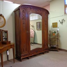 19th Century French Antique Louis XVI Style Mahogany Armoire  c.1890