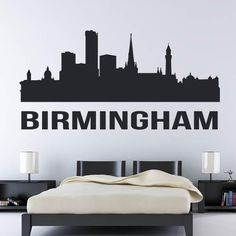 Proud of your Birmingham Heritage? Why not show it off front and centre with this Birmingham UK Skyline Wall Decal. City Wall Stickers, Wall Decals, Wall Art, Birmingham Uk, Interior Walls, Your Design, Batman, Skyline, Colours