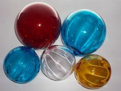 """BLENKO GLASS BALLS OR FLOATS 1- 6""""+ RUBY 1-6"""" & 1- 4.5""""TURQUOISE, 1-4.5 CL 1-AM"""